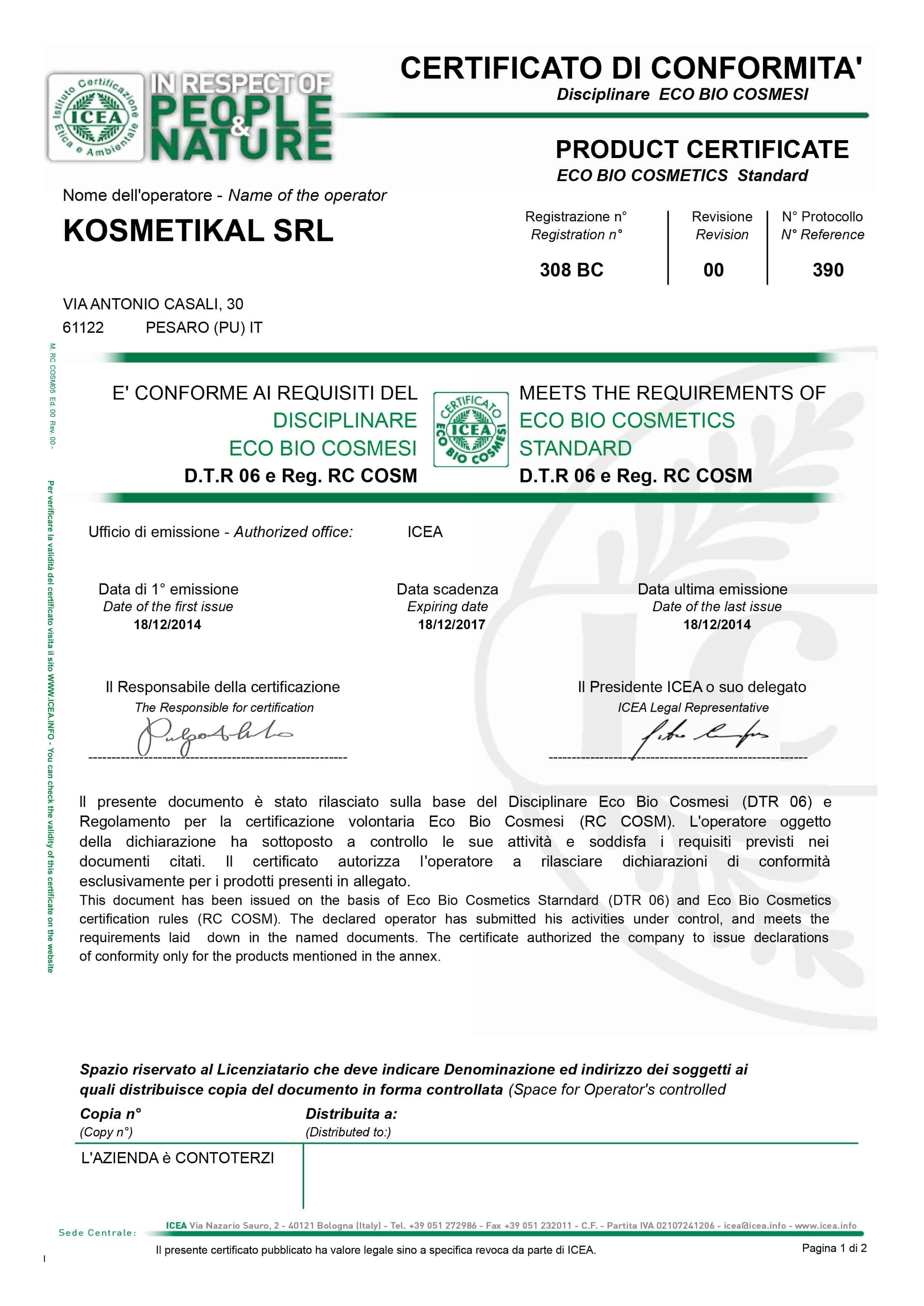 Kosmetikal ottiene il certificato da ICEA il certificato ECO BIO COSMESI