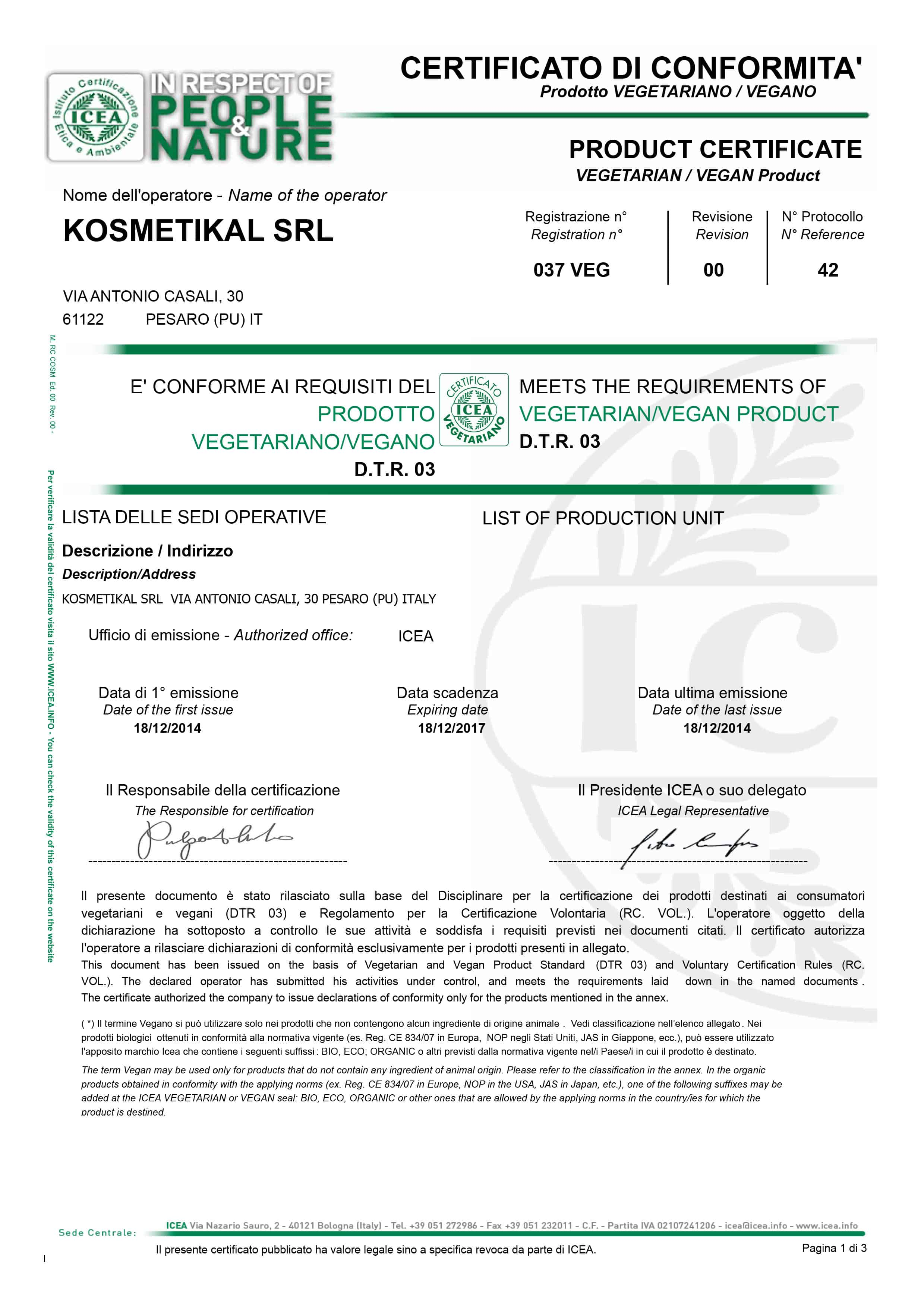 Kosmetikal produce cosmetici vegani certificati