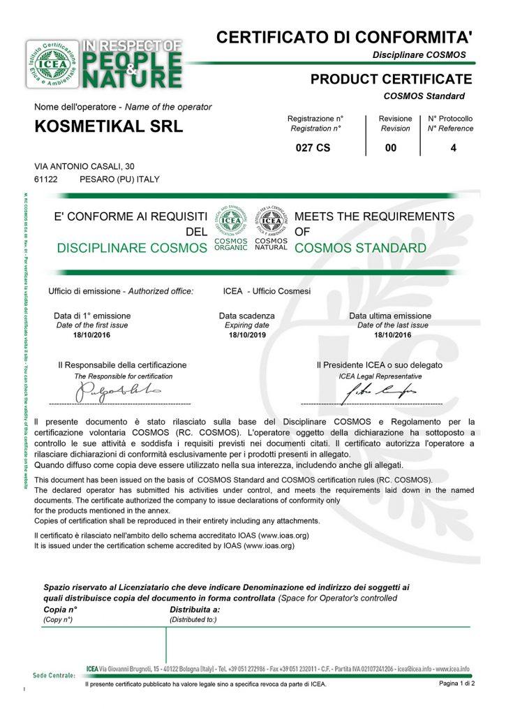 certificato di conformità COSMOS