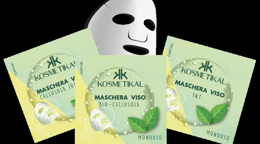 MASCHERA VISO IN CELLULOSA 100% NATURALE  MASCHERA VISO IN TNT MASCHERA VISO IN BIO-CELLULOSA