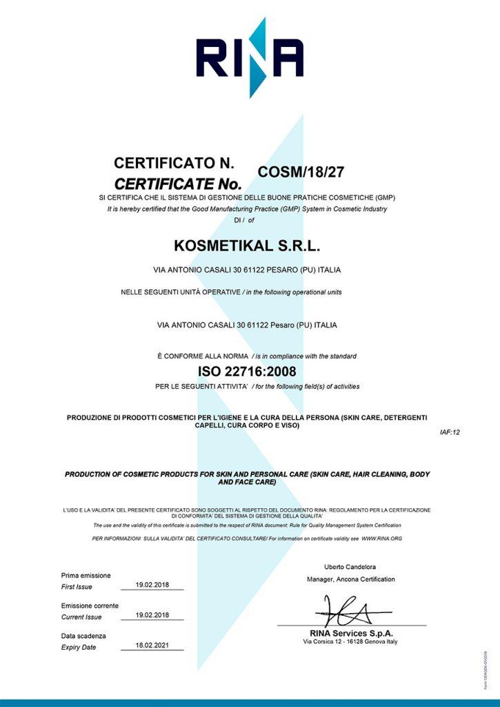 Certificato ISO 22716:2008